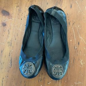 Black Tory Burch flats with gold buckle